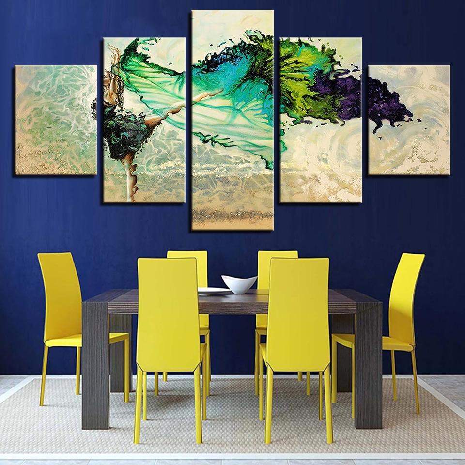 Canvas Wall Art Pictures Modular Home Decor 5 Pieces Green Ballerina ...