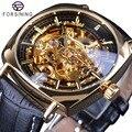 Часы Forsining 2018, Классические Золотые роскошные механические часы со скелетом, водонепроницаемые черные мужские наручные часы из натуральной...