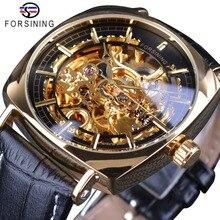 2018 Forsining クラシックゴールデン高級スケルトン機械式時計防水ブラック本革メンズ腕時計男性 腕時計