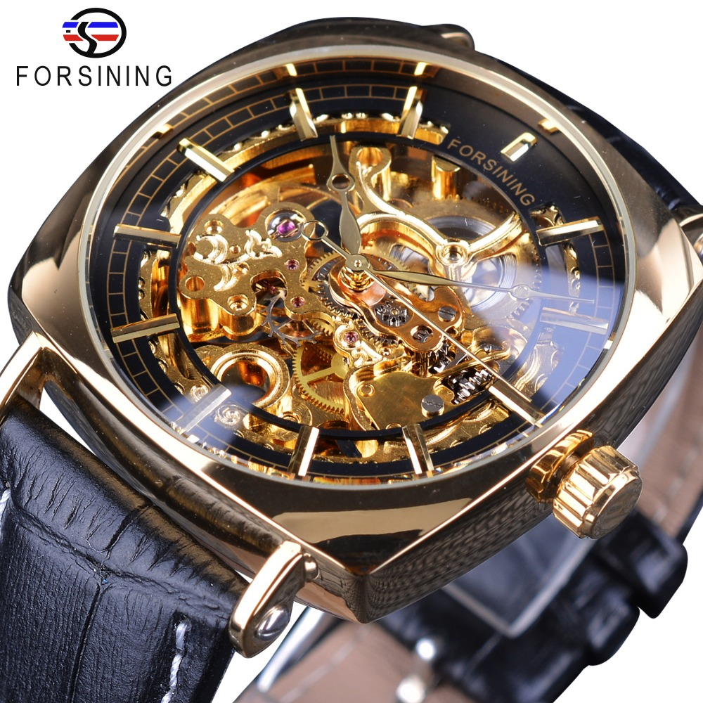 Forsining Watch 2018 Classic Golden Luxury Skeleton Mechanical Watches Waterproof Black Genuine Leather Men's Wristwatches Male