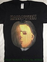 Short Sleeve T Shirt Michael Myers Pumpkin Carving Face Jack O Lantern Halloween Movie Horror T