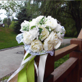 Wedding Bouquets 2016 White Flower with Green Ribbon Bride Wedding Accessories Bridesmaid Artifical Flowers Bridal Bouquets