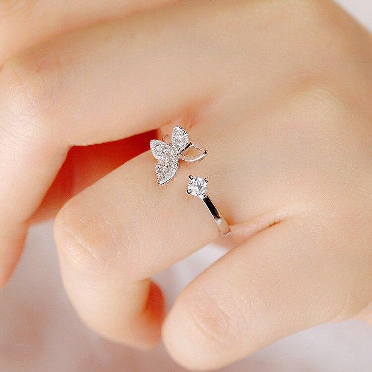 925 Sterling Silver Luxury Crystal Butterfly Rings for Women Jewelry Fashion Open Adjustable Finger Ring mariposa en plata anillo