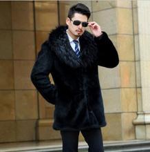 цены на Autumn faux mink leather jacket mens casual coats winter thicken warm fur leather coat men big fur collar jackets fashion black  в интернет-магазинах