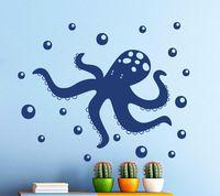 High Quality Vinyl Wall Sticker Octopus Sea Animal Decal Nursery Bathroom Home Decoration Wall Mural A