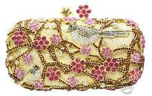 Party abend handtaschen Blumenmuster Abendtasche Blau Luxus Kristall ROTES Abend-handtasche Gold Diamant Parteigeldbeutel 88344