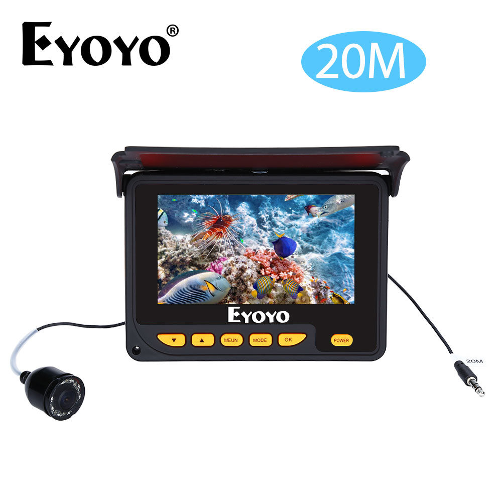 EYOYO F05 4.3 20M 320*240 IR Underwater Ocean River Sea Boat Ice Fishing Camera Fish Finder Video Fishfinder Fixed on the Rod
