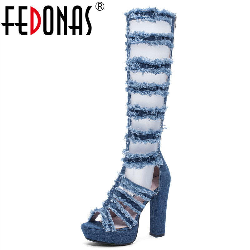 FEDONAS Women Fashion Super High Heels Sexy Breathable Denim Spring Summer Pumps Personality Female Back Zipper Motorcycle BootsFEDONAS Women Fashion Super High Heels Sexy Breathable Denim Spring Summer Pumps Personality Female Back Zipper Motorcycle Boots