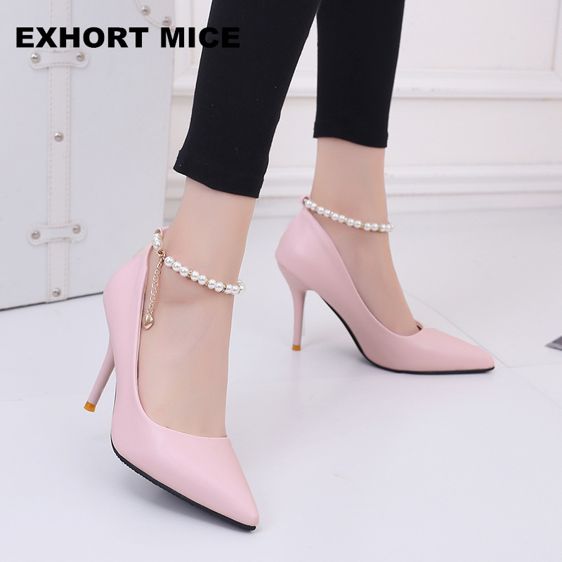 2018 Women Shoes Pointed Toe Pumps  Dress Shoes High Heels Boat Shoes Wedding Shoes Tenis Feminino 9.5cm Square Heel Nightclub