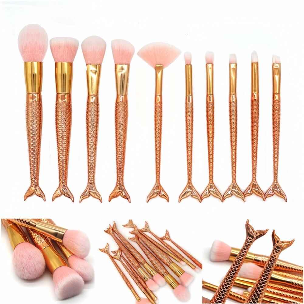 FOEONCO 10Pcs Rose Gold Mermaid Makeup Brushes Eyebrow Eyeliner Blush Blending Contour Foundation Cosmetic Make Up Fish Brush