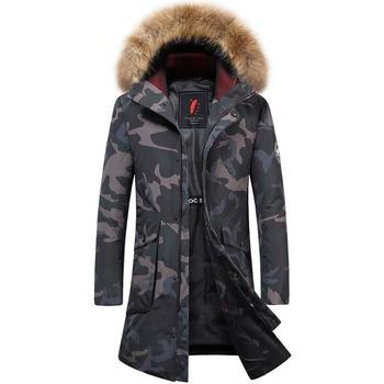 2018 New Men's Duck Down Camouflage Fur Hood Long Coats
