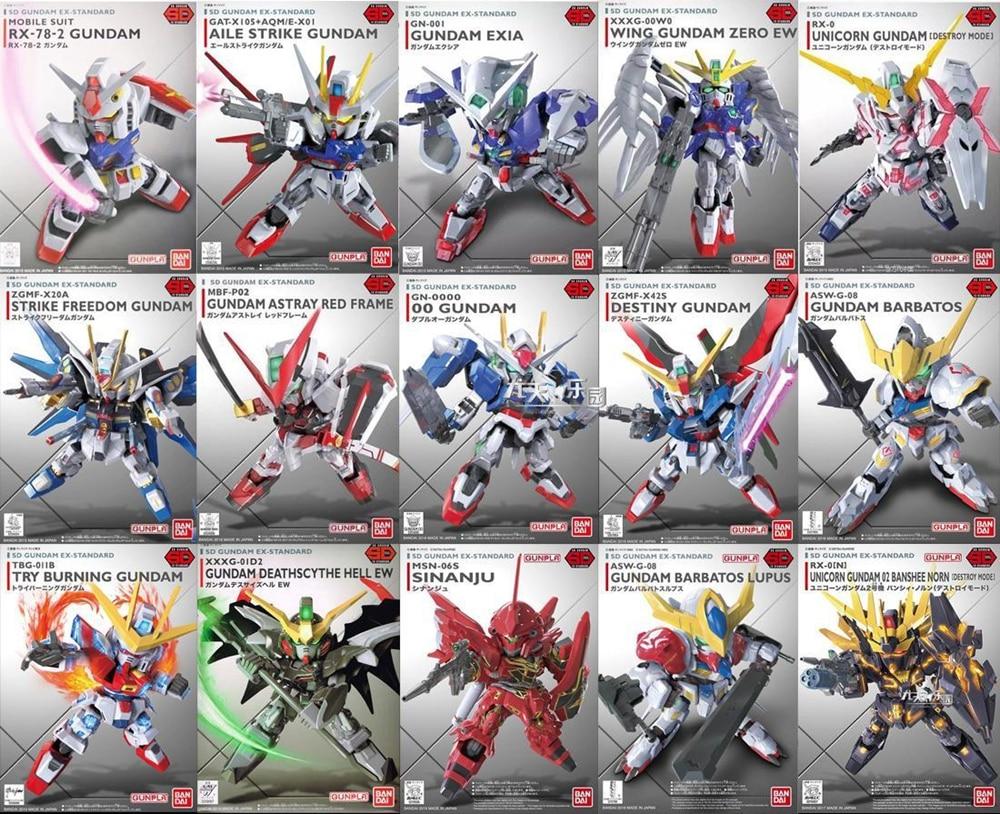 WSTXBD Original BANDAI SD Gundam BB EX-Standard 001-015 PVC Figure Model Kids Dolls Toys Figurals bandai bandai gundam model sd q version bb 309 sangokuden wu yong bian xiahou yuan battle