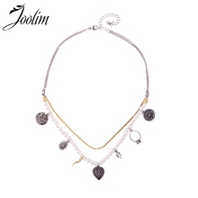 Joolim 2 Rows Pearl Collar Necklace Vintage Party