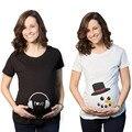 Las Mujeres Embarazadas con estilo Señora madre-a-ser Manga Corta Floja Tops Ropa Casual Vestido de Maternidad de Algodón Camiseta Impresa verano