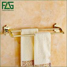 FLG Wall Mounted Gold Plating Bath Towel Holder Shelf Solid Brass Creative  Design