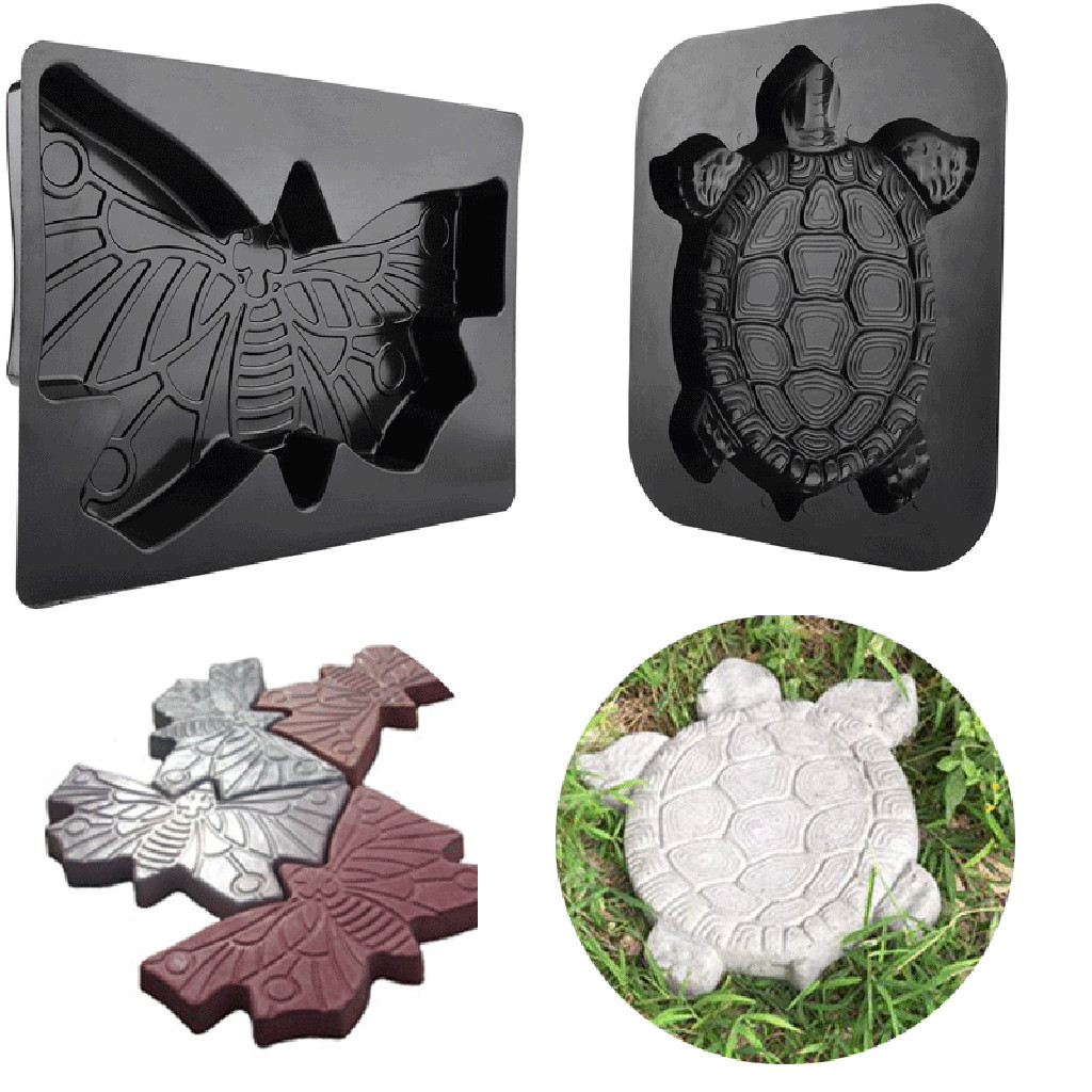 Turtle Shape Plastic Path Mold Manually Concrete Cement Stepping Stone Mould Road Making Tool Paving Molds For Garden Decor