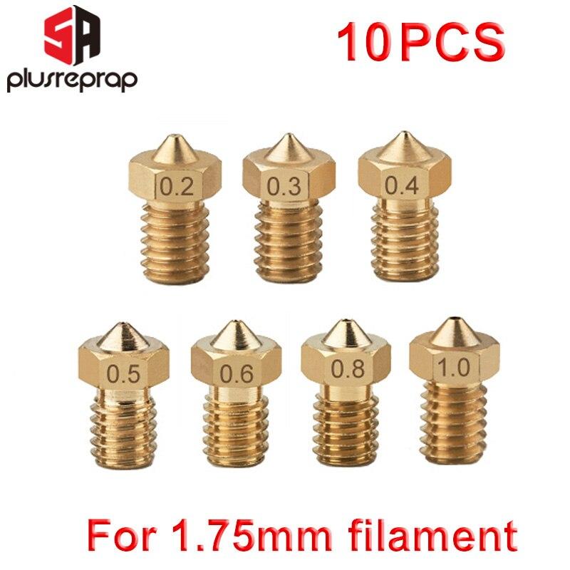 10pcs/lot M6 Threaded Nozzle Full Metal 0.2mm 0.3mm 0.4mm 0.5mm Optional for 1.75mm Filament V5 V6 Hotend Extruder 3D Printer