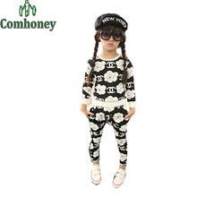 Girls Tracksuit Camellia Floral Shampooer Hip Hop Clothing Set Baby Casual Sweatshirt+Harem Pant Brand Costume Kid Sport Clothes