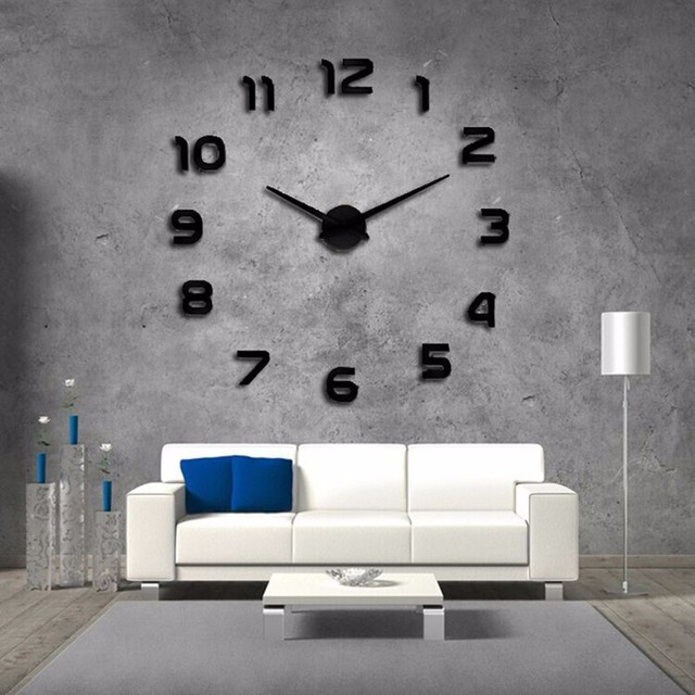 2017 new real special watch quartz wall clocks 3d acrylic clock design luxury  large decorative clocks stickers free shipping