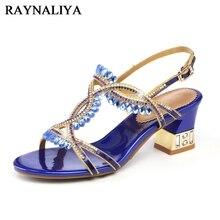 Women Fashion Open Toe Shining Blue Rhinestone Buckle Thick High Heel Sandals  Rhinestone Gladiator Wedding Dress 4ca59bf954cd