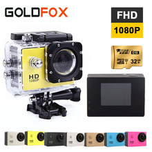 Goldfox Спорт действий Камера 1080 P Full HD Спорт DV велосипед шлем видео CAM 30 м Go Водонепроницаемый Pro HD Камера коробку
