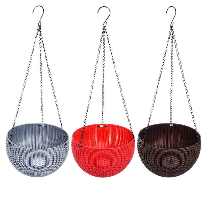 Hanging Planter Flower Pot Basket Round Rattan Plastic Durable For Garden Outdoor Plant