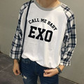 Exobiology clothes EXO wu queer same grid raglan sleeve round collar fleece long-sleeved jacket 2015 autumn female