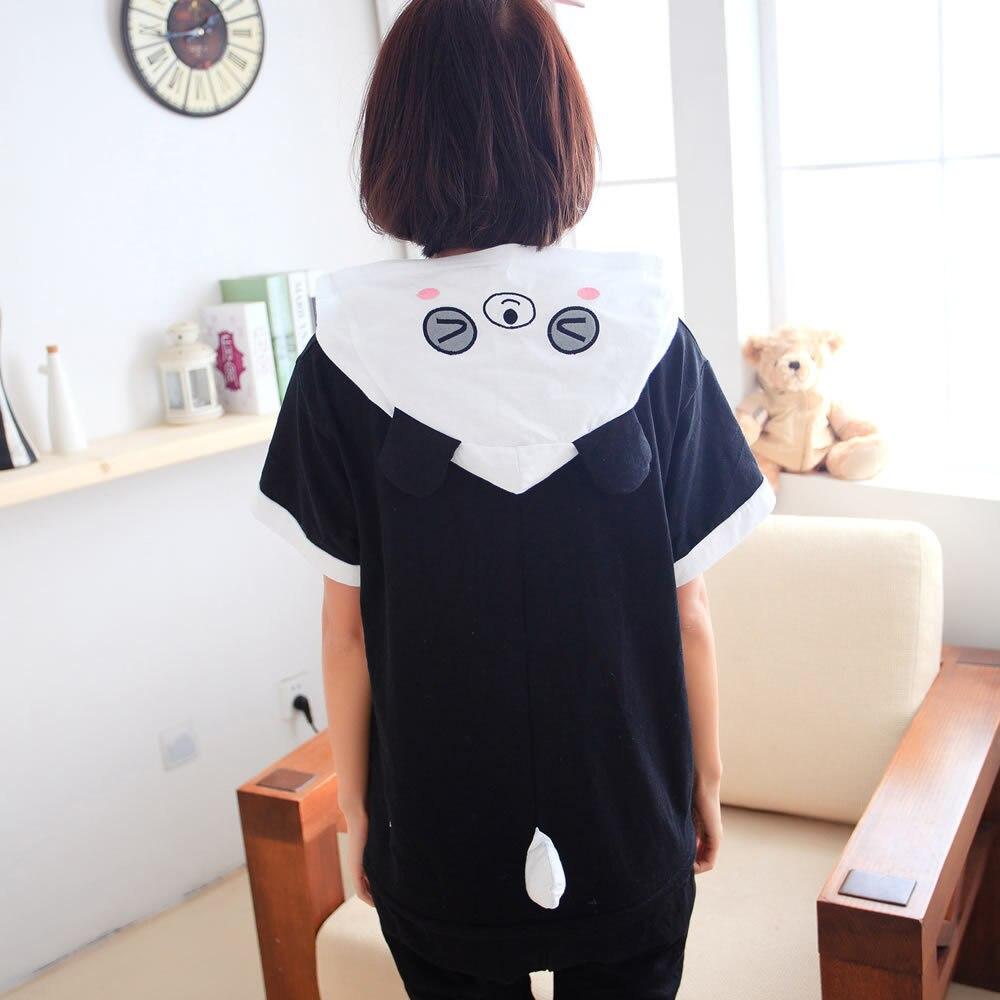 Kigurumi Onesie Unisex Adult Women Panda Pajamas Costume Animal Cosplay Summer Short Sleeve Cartoon Hoodie Sleepwear