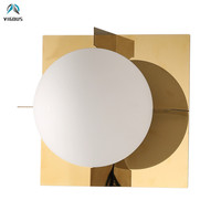 D20cm Lustre Gold Metal Wall Lamp G9 Luminarias Led Wall Scones Corridor Led Lighting Lamparas Frosted Glass Shades Lamparas