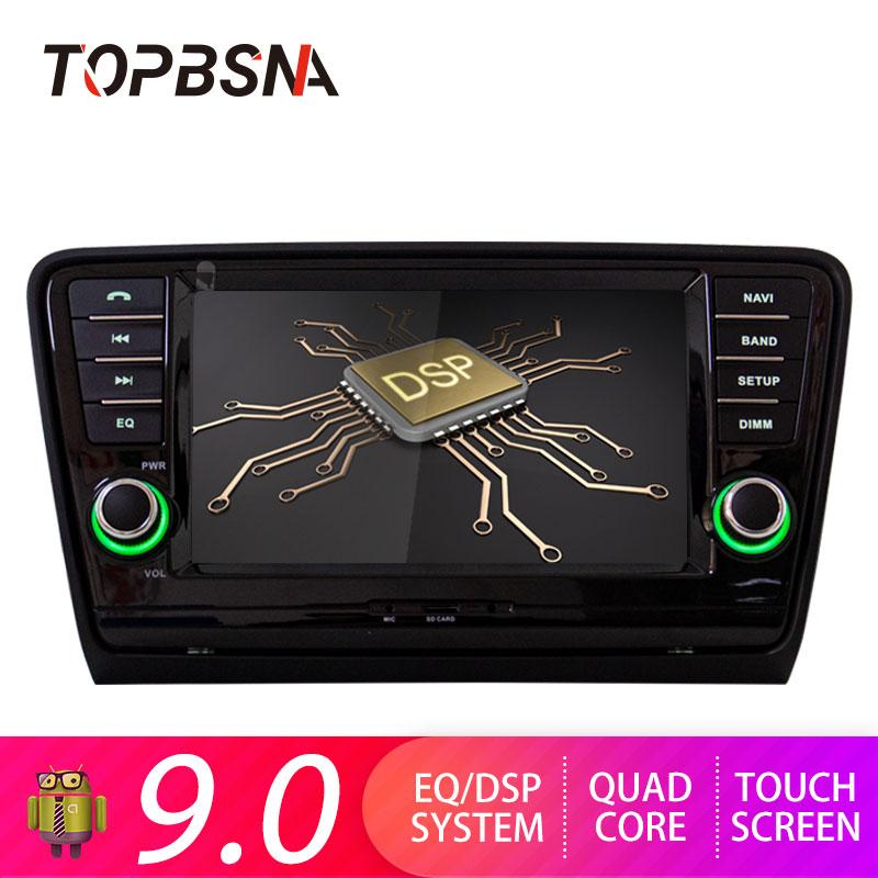 Lecteur dvd de voiture TOPBSNA 7 pouces Android 9.0 pour Skoda Octavia 2013-2015 autoradio GPS 1 din autoradio bluetooth WIFI stéréo USB FM