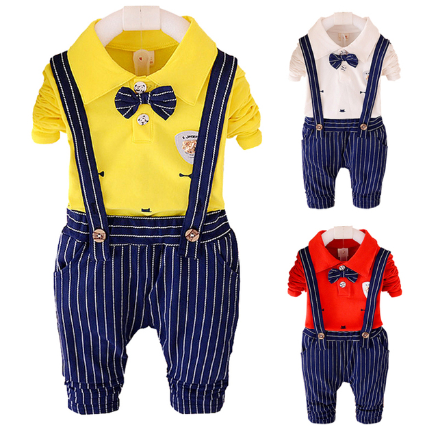 1-4years Kids Clothing set 2pcs Boys clothes Cotton Shirt + stripe Pants formal children clothing girls baby wedding suits