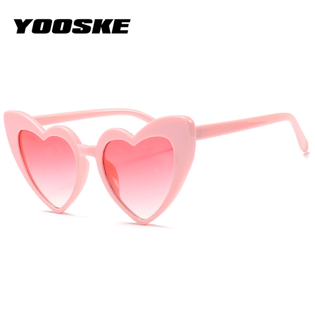 YOOSKE Love Heart Sunglasses Women Cat Eye Vintage Sun Glasses Christmas gift Heart shape Party Glasses for Women Driving UV400