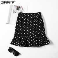 High Waist Mini Skirt Polka Dot Print Ruffles Skirt Sexy Streetwear Korean Fashion Cute Kawaii Faldas H6007