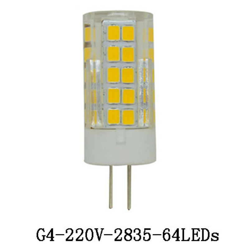 1X <font><b>G4</b></font> светодиодные лампочки 51leds 64leds 220 В 5 Вт 7 Вт лампы кукурузы SMD2835 керамика свеча лампы для хрустальная люстра Освещение