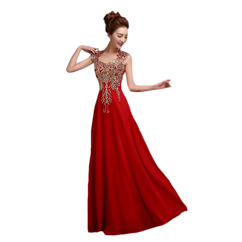 Luxury Elegant   Bridesmaid     Dresses   Long 2016 Red Slim Sleeveless Backless Bride Wedding   Dress   Formal Vestido De Festa Longo BV02