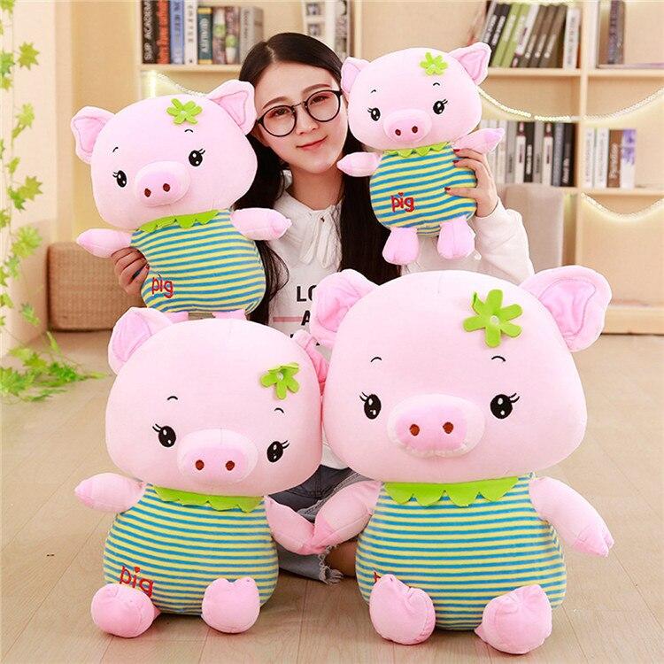 Hot Sale New Pattern 1Pc 35-55Cm Green Stripe Dress Pink Pig Plush Toys Cute Soft Stuffed Piglet Doll Kids Baby Girlfriend Gift