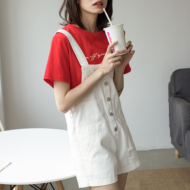 EGGKA 2018 Spring Summer New Fashion Playsuits Women Solid Color Loose Jumpsuit Button All-match Shorts For Women