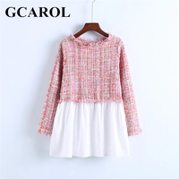 GCAROL New Tweed Spliced Women Sweat Full Sleeve O Neck Two Tone Colored Tops Clothing For