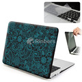 Frosted Black White Paisley Hard Shell Case Cover with Keyboard Skin and Screen Protector for MacBook Air 13 Inch A1369 A1466