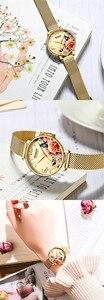 Image 5 - CURREN Frauen Uhr Top Marke Luxus Schwarz Weibliche Wasserdichte Uhr Mesh Edelstahl Armband Blume Damen Armbanduhr 9060
