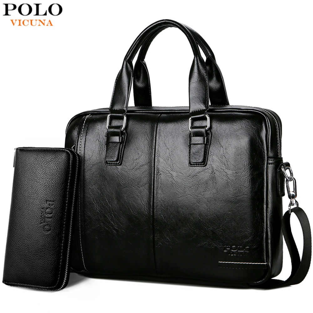 de899ebcec39 VICUNA POLO New Arrival High Quality Leather Man Messenger Bag With Front  Pocket Brand Men s Briefcases