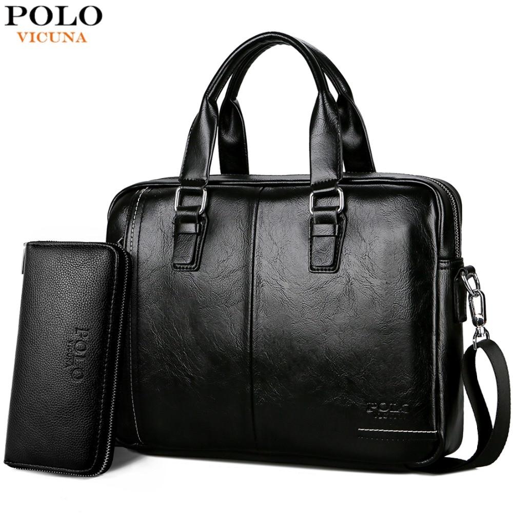 Викуньи поло Новое поступление высокое качество кожа человек сумка с передний карман бренд для мужчин's мужские Портфели Бизнес мужчин сумк