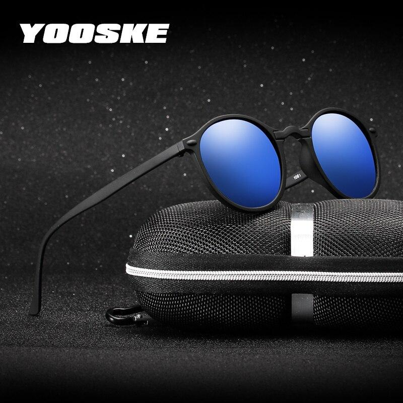 YOOSKE Night Vision Polarized Sunglasses Men Women Small Round Goggles Yellow Sun Glasses Driver Night Driving UV400 Eyewear