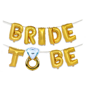 Image 2 - 웨딩 신부 샤워 16 inch 골드 실버 신부 편지 포일 풍선 다이아몬드 반지 풍선 암탉 파티 호의 장식
