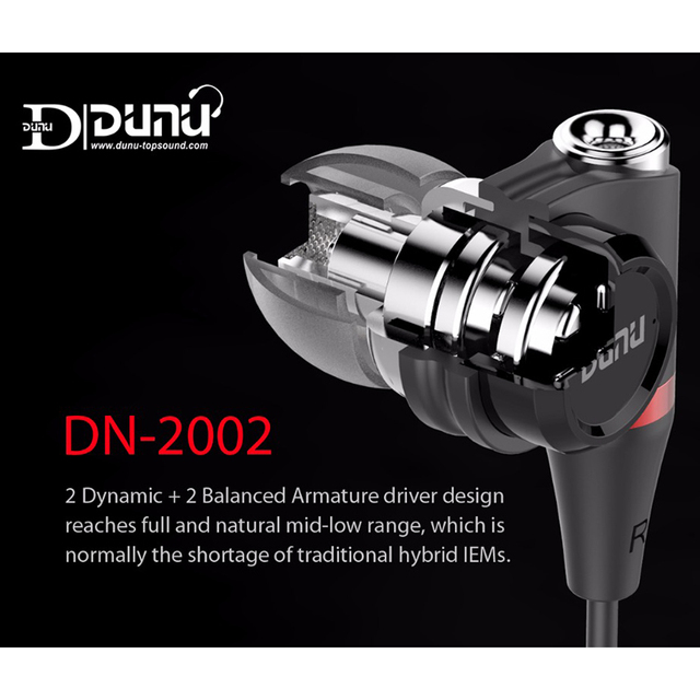 DUNU DN2002 HiFi Inner-ear Earphone 2BA+2Dynamic Hybrid 4 Driver IEM  Earphones with MMCX Connector DN-2002  DN 2002 TOPSOUND 4