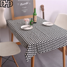 Nordic Style Tablecloth Black White Triangle Geometry Manteles Nappe Rectangulaire Table Cloth Rectangular Cotton Table Covers