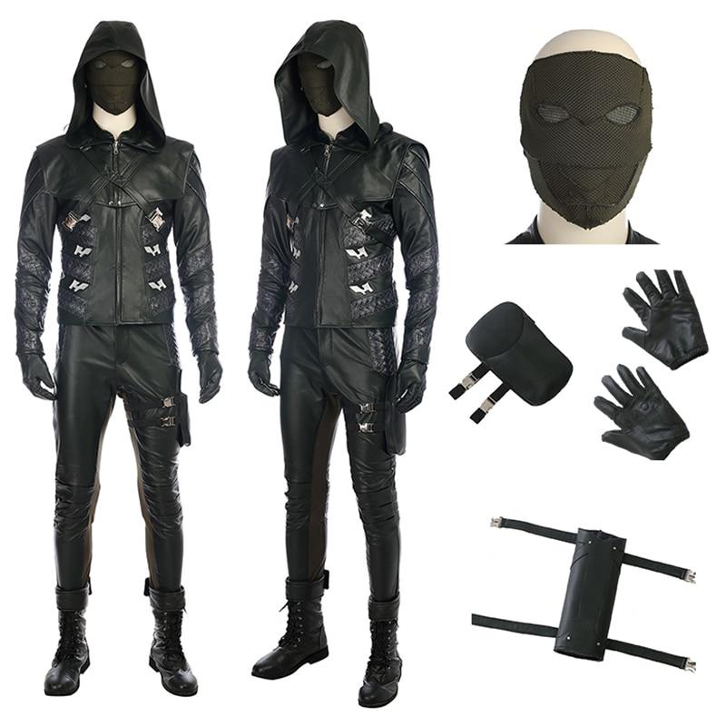 Vert Flèche Cosplay Flèche Saison 5 Prometheus Cosplay Costume Adulte Hommes Costumes Complets Avec Des Chaussures Halloween Costumes
