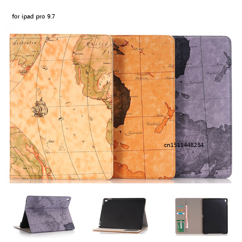 Case for iPad Pro 9.7 map PU Leather Protect Ultra Slim Smart Cover case with card slot for 9.7 iPad Pro+Tablet PC accessories