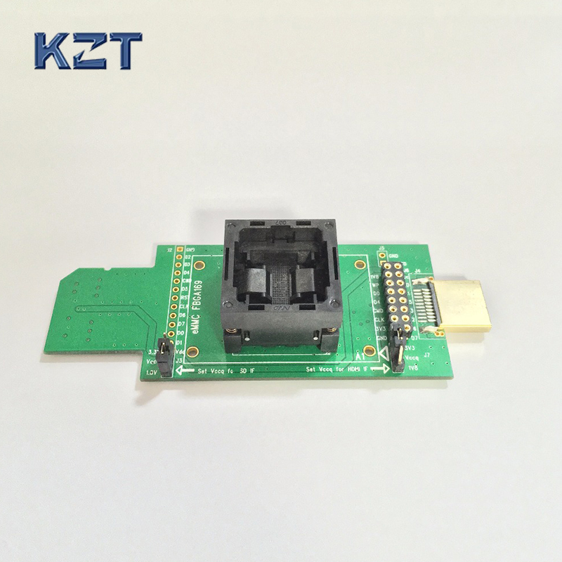 eMMC test socket flash chip eMMC153/eMMC169/BGA169 socket BGA153 Android phone flash data backup data recovery to SD--HDMI bga153 bga169 emmc test board programmer test block burning seat aging seat chip size 14x18 emmc169 153 development board