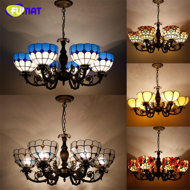 Tiffany 6 Lights Pendant Lamp Antique Stained Glass Suspension Lights Hot bending Body Baroque Restaurant Hotel Project Lights